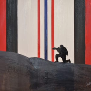 Afghanistan Campaign Medal's ribbon backdrops this painting with the silhouette of a soldier kneeling in a security posture on an Afghan mountain in the foreground.