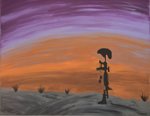 Battlefield cross silhouette with a purple and orange sky in the background and a grey ground in the foreground