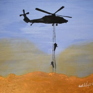 Blackhawk helicopter with two soldiers fast roping into a dusty tan mountaintop below.
