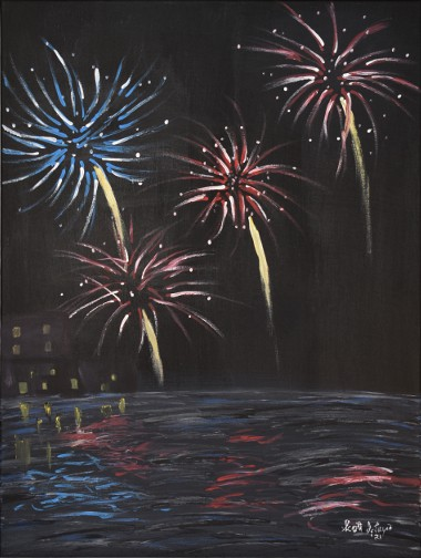 Fireworks over the water acrylic painting